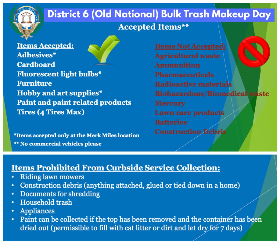 Councilman khalid is working with several companies to provide a make-up Bulk Trash Day Saturday, November 14 for those who missed the Citywide October event. Seniors in Old National District 6 can schedule Curbside Pickup of their Bulk Trash using the form at khalidCares.com/Trash