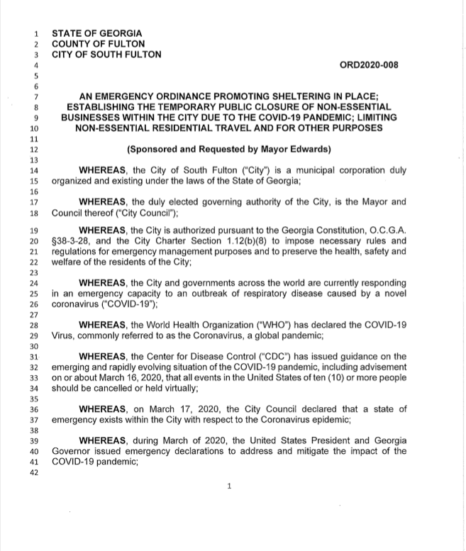 Thursday, April 2, 2020 -- Atlanta's twin city South Fulton Georgia issued a Shelter-In-Place order and extended it's Citywide curfew to run concurrent with Georgia Governor's Brian Kemp's oder, issued the same day. khalidCares.com
