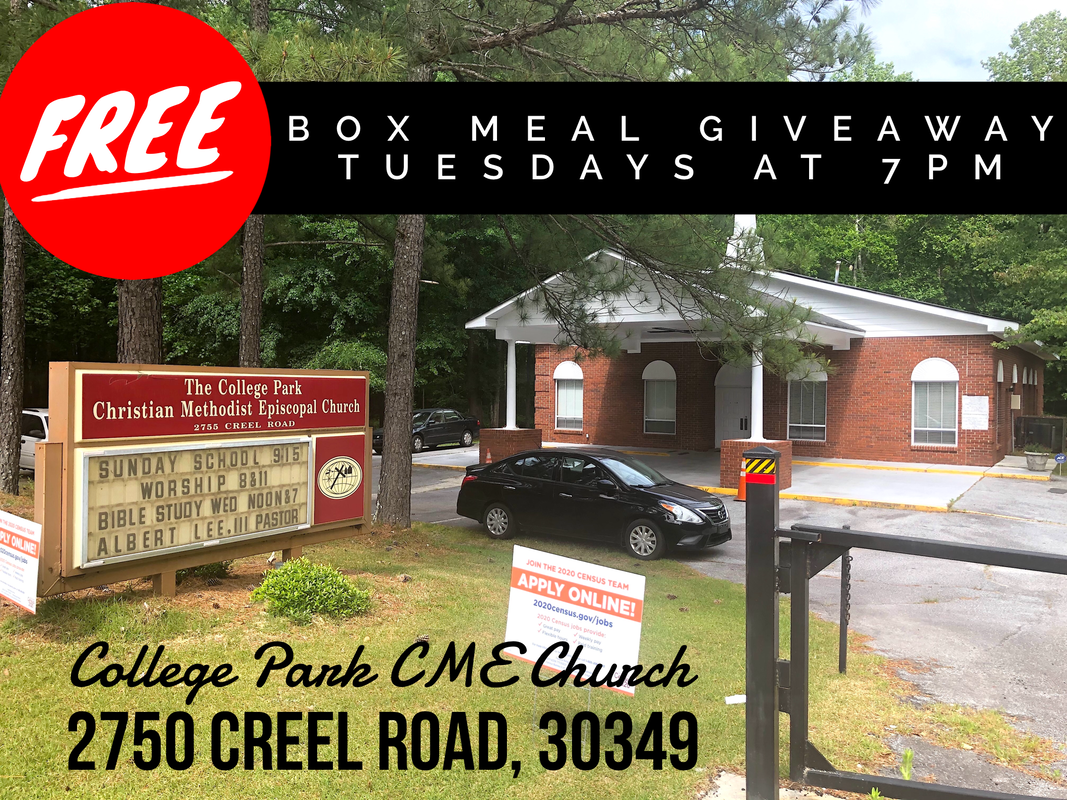 City of South Fulton Councilman khalid is partnering with College Park CME Church to give away FREE Boxed Meals Tuesdays at 12 PM, 2750 Creel Road, 30349 khalidCares.com/News