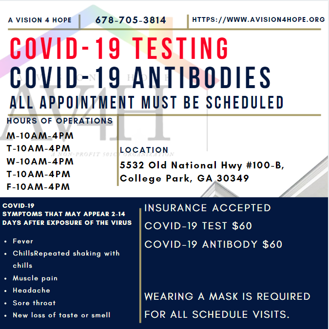Old National Nonprofit Vision 4 Hope is offering COVID-19 Nasal and Blood Antibody Testing khalidCares.com/Survive