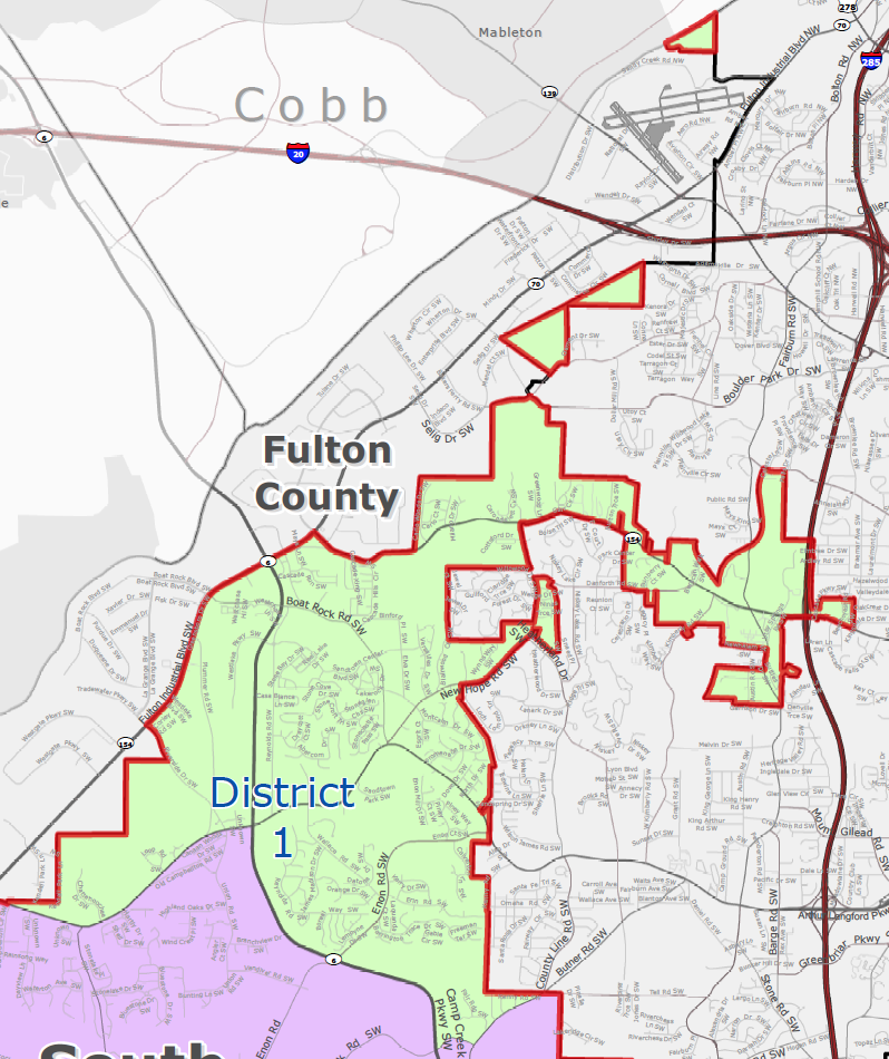 City of South Fulton District 1 (Cascades/Fulton Industrial) Map - khalidCares.com South Fulton 101