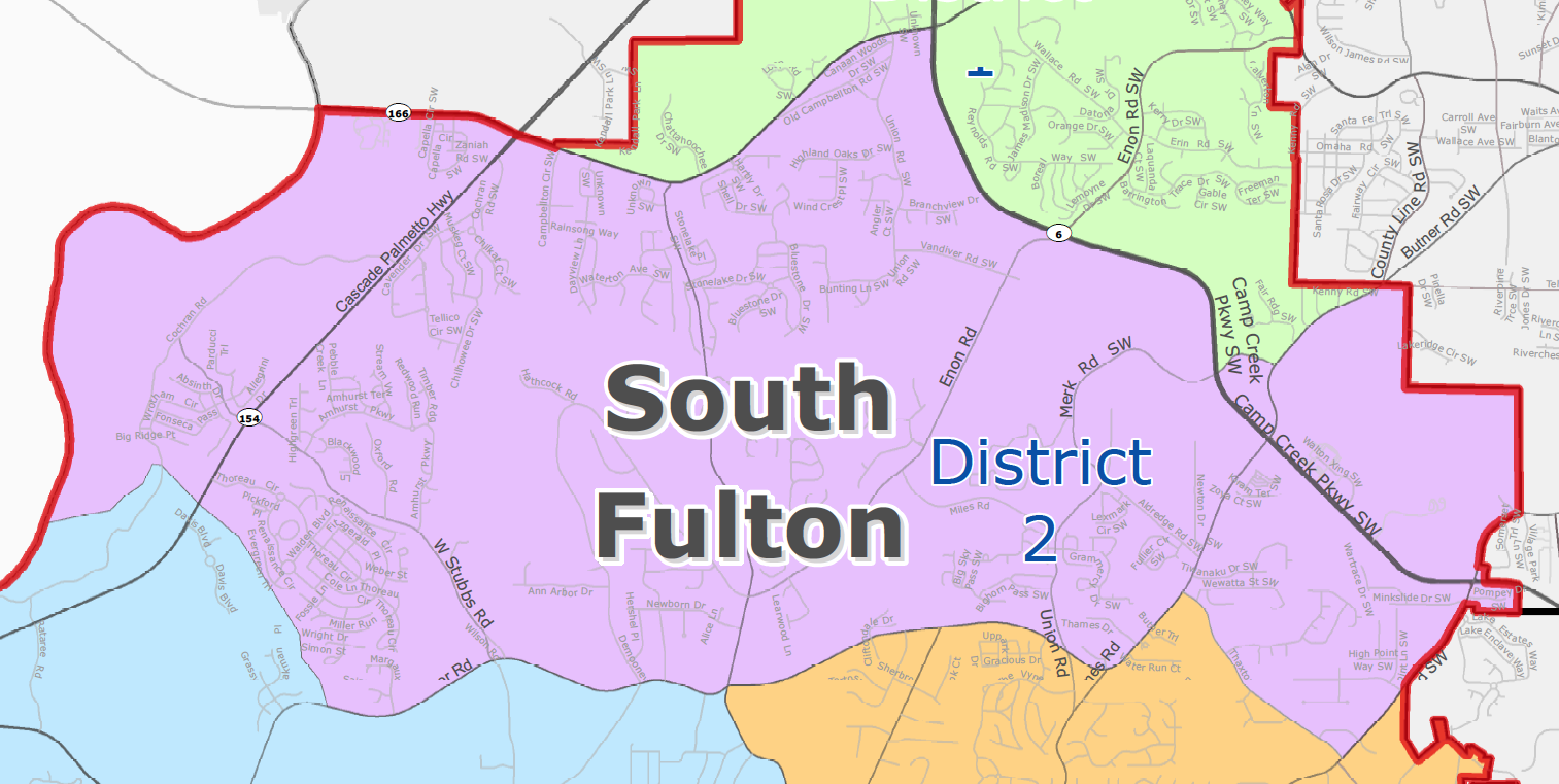 City of South Fulton District 2 (Cliftondale/Wolf Creek) Map - khalidCares.com South Fulton 101