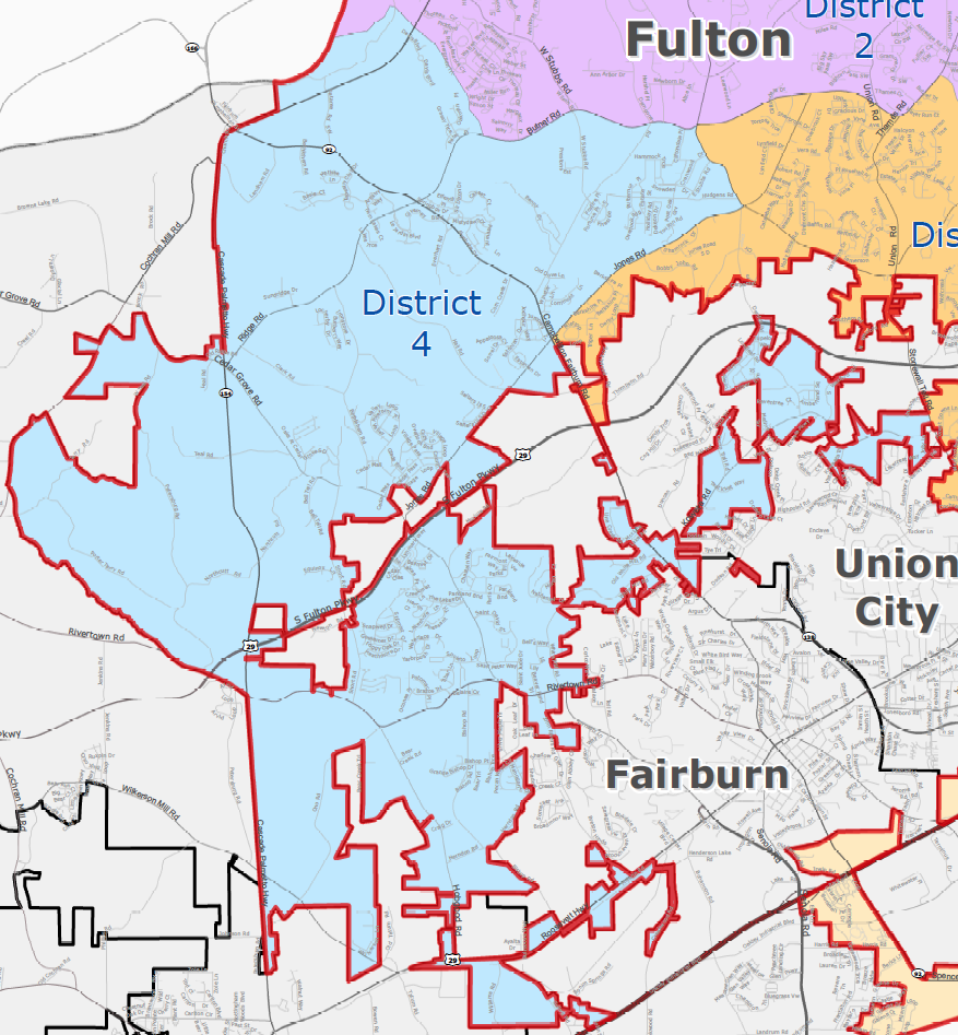 City of South Fulton District 4 (Cedar Grove/Hwy 92) Map - khalidCares.com South Fulton 101