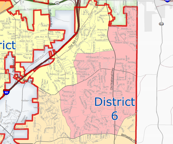 City of South Fulton District 6 (Central Old National) Map - khalidCares.com South Fulton 101