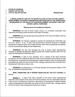 In September 2019, South Fulton, Georgia's City Council passed Resolution 2019-043, calling on County to advise and seek consent from City Authority before going forward with real estate development within South Fulton's city limits. khalidCares.com/removal
