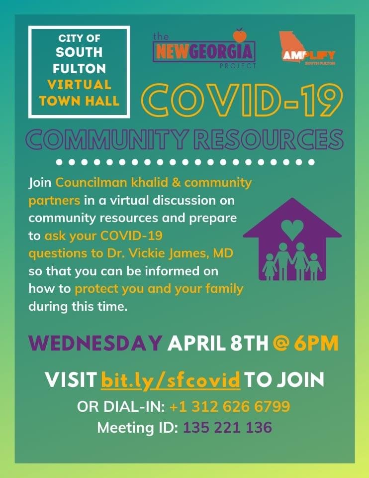 Councilman khalid is joining with the New Georgia Project, local doctors and others to host a COVID-19 Coronavirus Online Town Hall this Wednesday, April 8 at 6PM. khalidCares.com